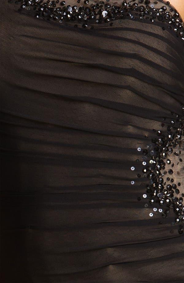 Alternate Image 3  - La Femme One Shoulder Beaded Trim Mesh Dress