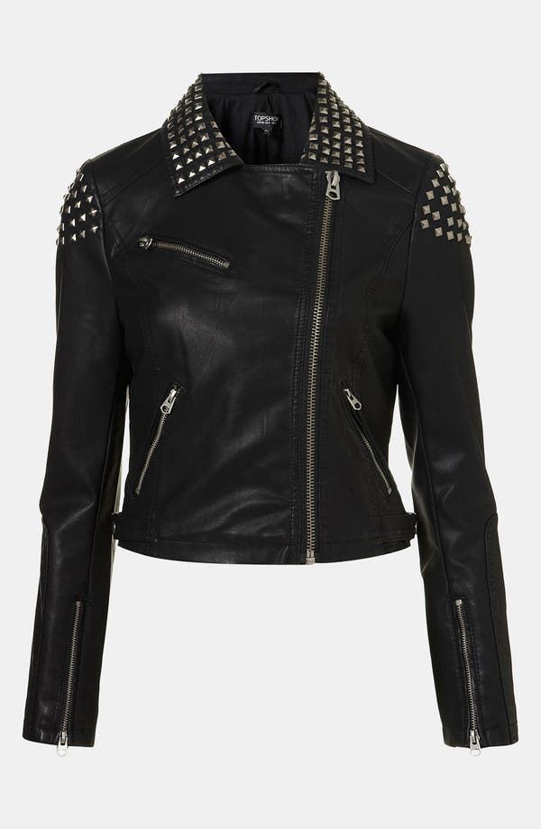 Main Image - Topshop Studded Faux Leather Biker Jacket
