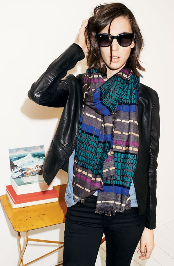 Alternate Image 2  - Halogen® 'Dash Stripe' Wool Challis Scarf