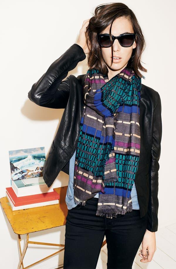 Alternate Image 2  - Halogen® 'Dash Stripe' Wool Challis Scarf