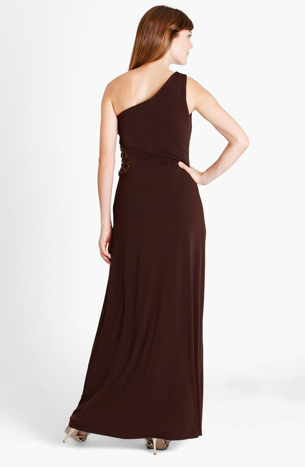 Alternate Image 2  - JS Boutique One Shoulder Beaded Medallion Jersey Gown
