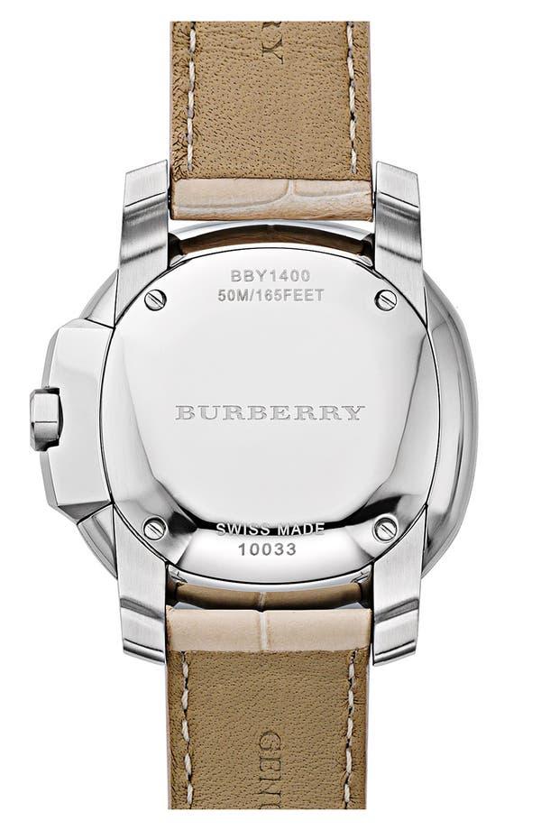 Alternate Image 3  - Burberry The Britain Diamond Bezel Alligator Strap Watch, 38mm