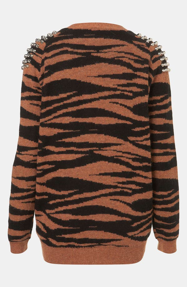 Alternate Image 2  - Topshop Tiger Stripe Studded Knit Cardigan
