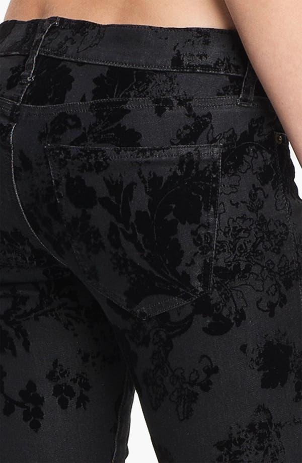 Alternate Image 3  - Current/Elliott Ankle Zip Skinny Jeans (Black Velvet Floral)