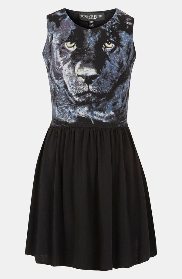 Main Image - Topshop Panther Face Skater Dress (Petite)