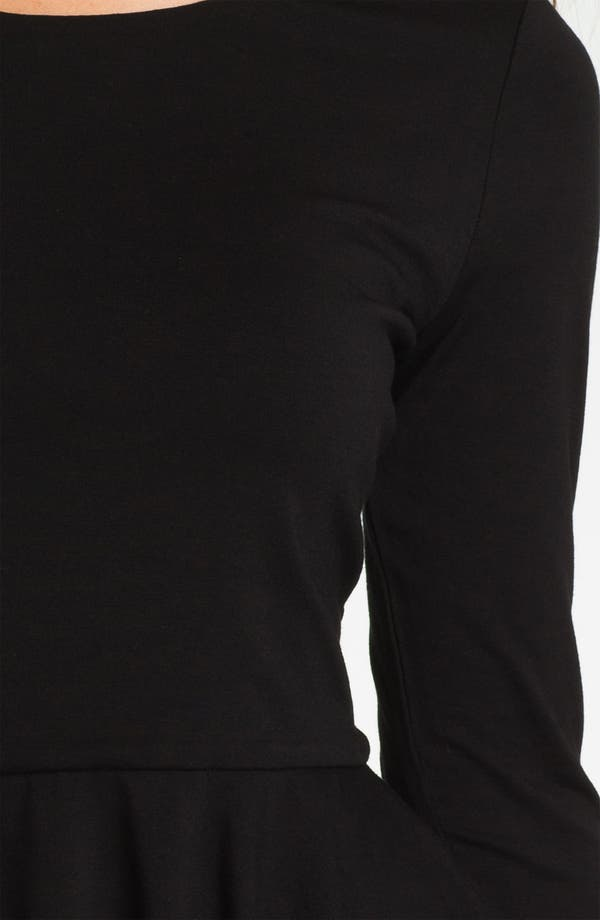 Three Quarter Sleeve Peplum Top,                             Alternate thumbnail 3, color,                             Rich Black
