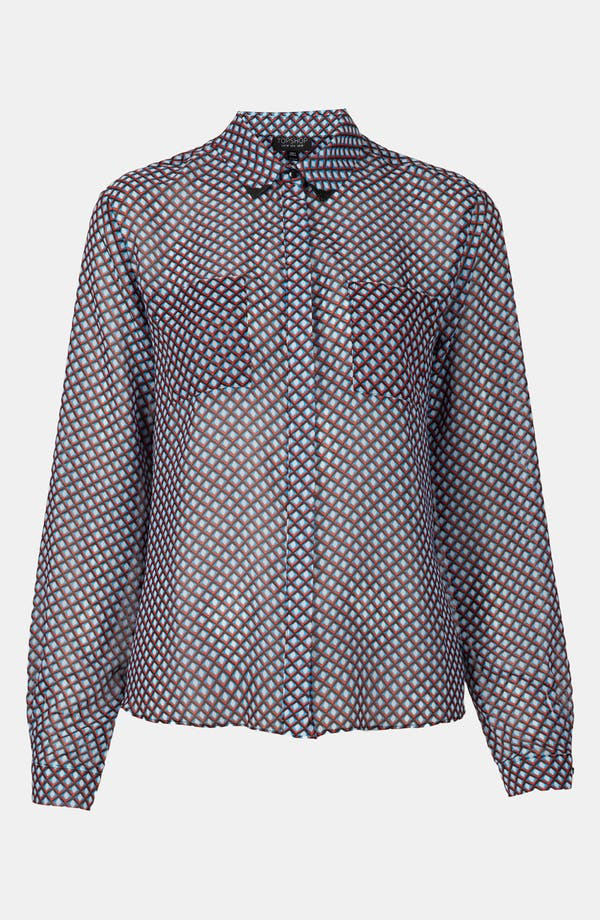 Alternate Image 1 Selected - Topshop Tipped Collar Print Shirt