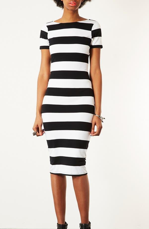 Main Image - Topshop 'Big Stripe '50s' Midi Dress