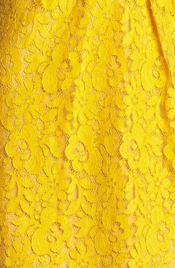 Harlow Tea Lace Sheath Dress,                             Alternate thumbnail 3, color,                             Mustard