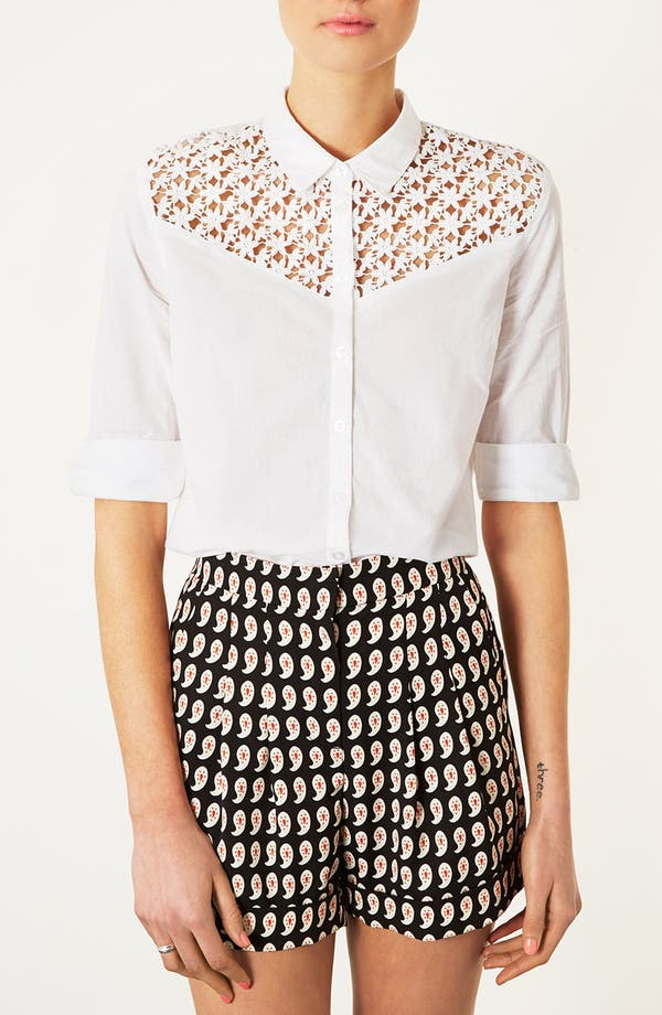 Main Image - Topshop Crochet Yoke Shirt