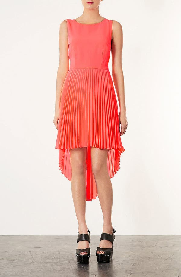 Alternate Image 1 Selected - Topshop Pleated High/Low Dress