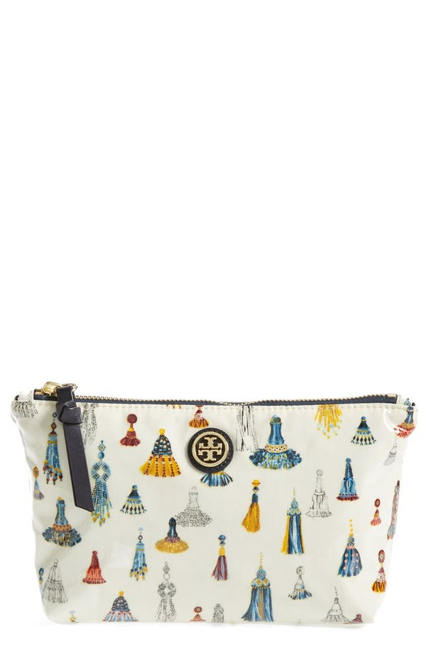 Alternate Image 1 Selected - Tory Burch 'Slouchy - Small' Coated Poplin Cosmetics Case