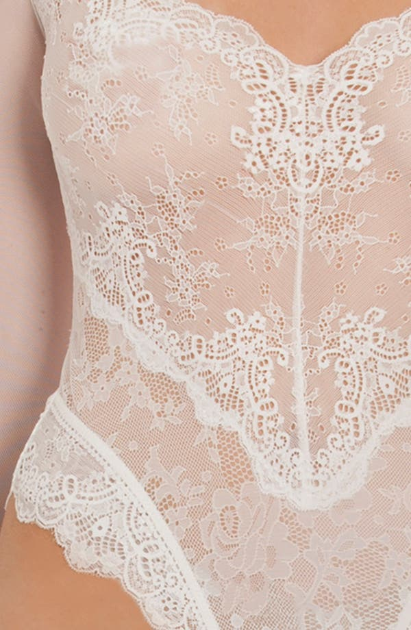 Thong Lace Teddy,                             Alternate thumbnail 5, color,                             Cream