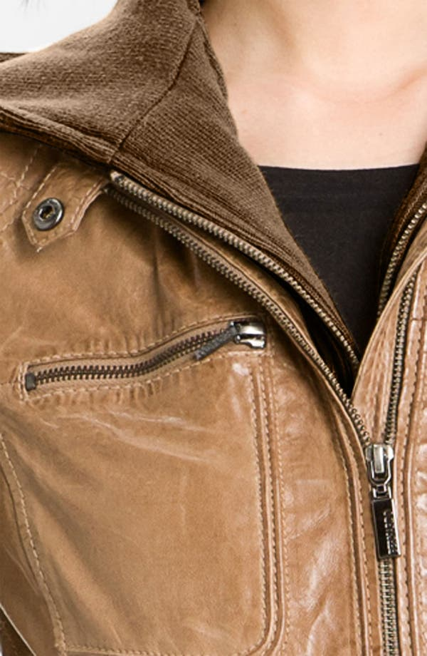 Alternate Image 2  - Bernardo Leather Bomber Jacket with Detachable Hoodie Liner