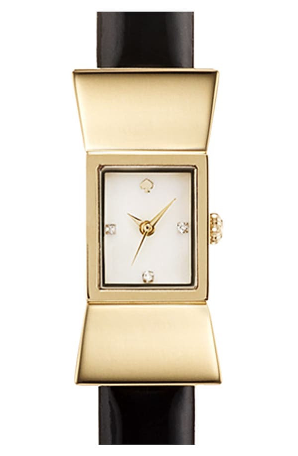 Main Image - kate spade new york square leather strap watch, 18mm x 39mm