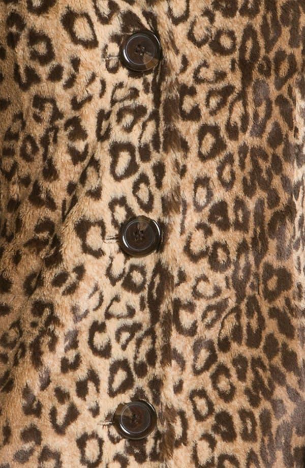Alternate Image 3  - Weatherproof® Faux Leopard Fur Walking Coat (Online Exclusive)