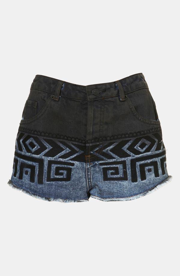 Alternate Image 1 Selected - Topshop Moto Embroidered Dip Dye Denim Shorts