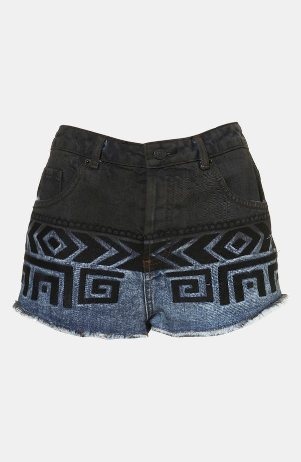 Main Image - Topshop Moto Embroidered Dip Dye Denim Shorts