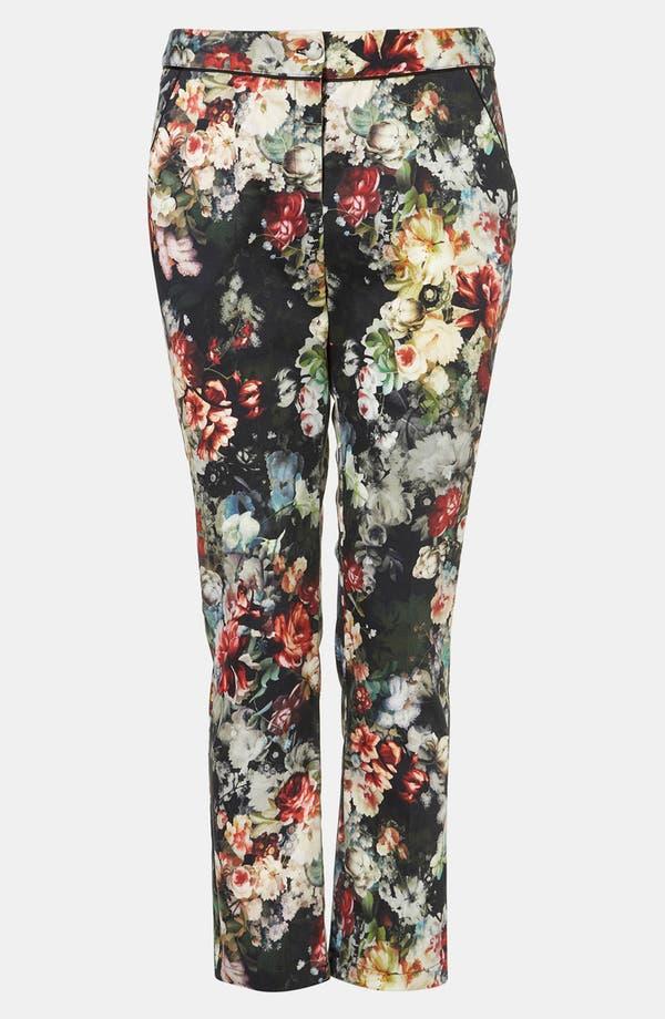 Alternate Image 1 Selected - Topshop 'Winter Floral' Print Crop Cigarette Pants