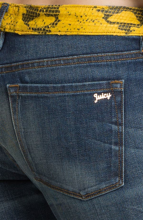 Alternate Image 3  - Juicy Couture 'Slouchy Skinny' Leather Trim Jeans (Bleeker)