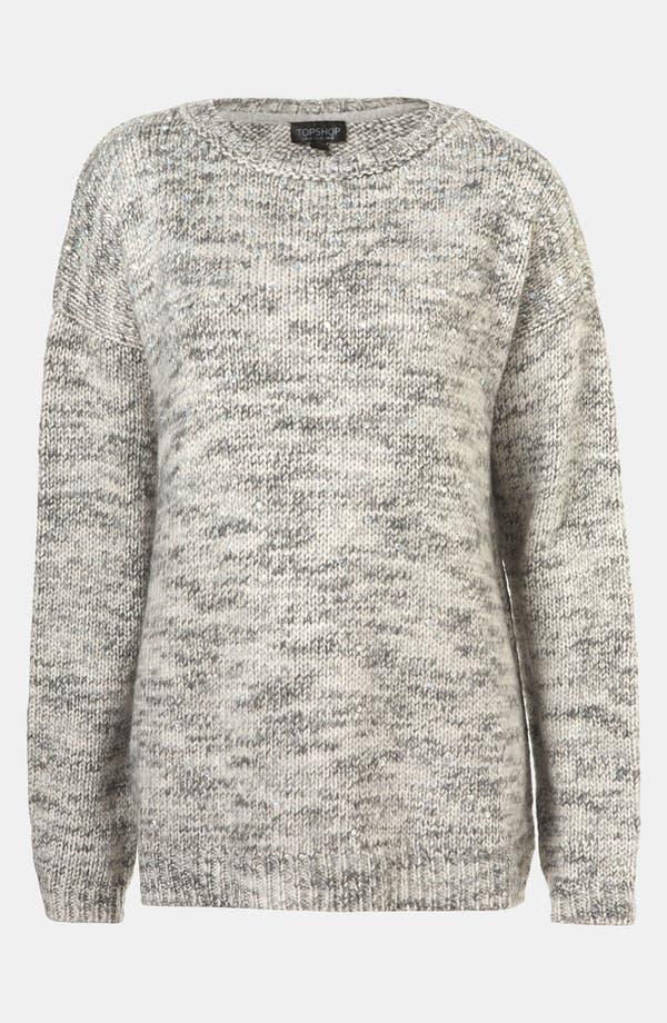 Main Image - Topshop Tweedy Rhinestone Embellished Sweater