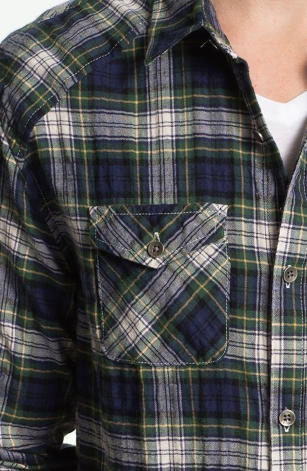 Country Plaid Herringbone Flannel Shirt,                             Alternate thumbnail 3, color,                             Navy