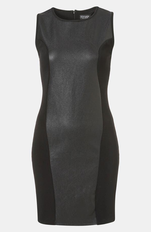 Alternate Image 1 Selected - Topshop Faux Leather Body-Con Dress