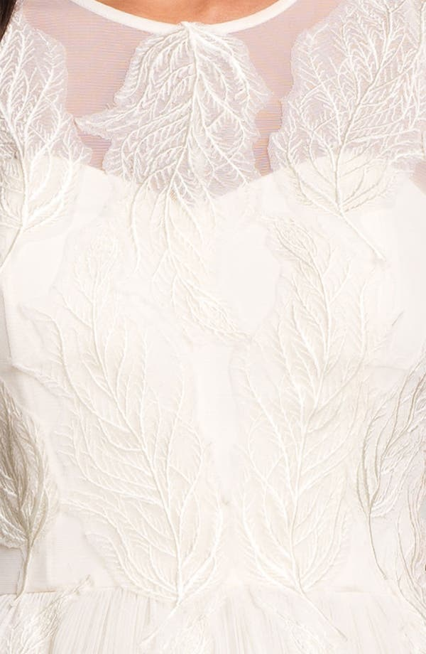 'Miyaa' Embroidered Mesh Fit & Flare Dress,                             Alternate thumbnail 4, color,                             Cream