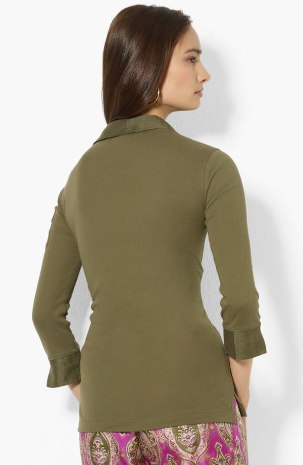 Alternate Image 2  - Lauren Ralph Lauren Three Quarter Sleeve Polo