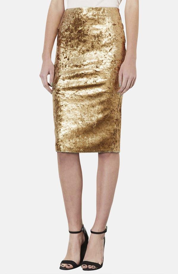 Main Image - Topshop Metallic Foil Velvet Tube Skirt