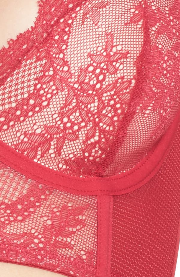 Lacy Glam Underwire Longline Bra,                             Alternate thumbnail 6, color,                             Persian Red