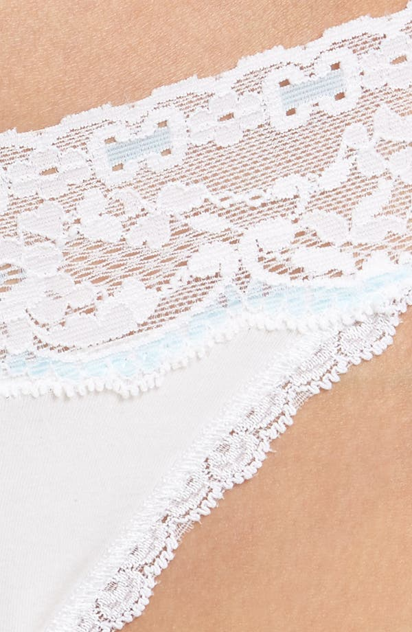 Annabelle Lace Thong,                             Alternate thumbnail 6, color,                             White/ Babyblue