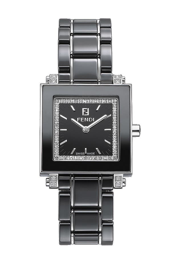 Alternate Image 1 Selected - Fendi Ceramic Square Case Watch, 25mm