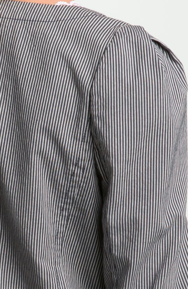 Railroad Stripe Crop Blazer,                             Alternate thumbnail 3, color,                             Cream- Bone/ Grey- Ebony
