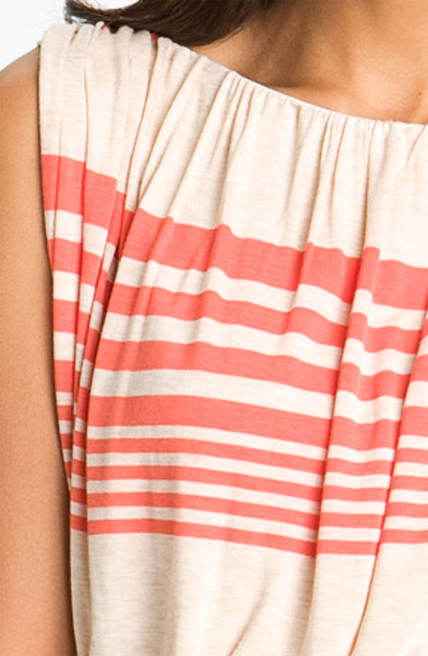 Stripe Jersey Blouson Dress,                             Alternate thumbnail 3, color,                             Oatmeal/ Tango