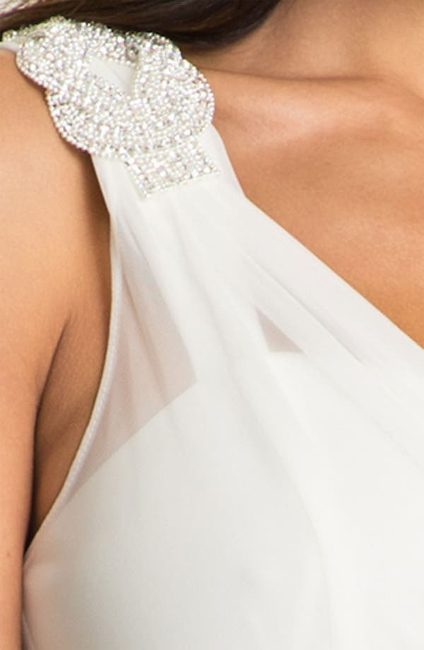 Alternate Image 3  - Xscape Beaded One Shoulder Sheer Mesh Gown