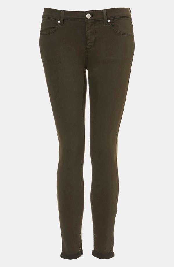 Main Image - Topshop Moto 'Leigh' Skinny Jeans (Dark Khaki) (Petite)