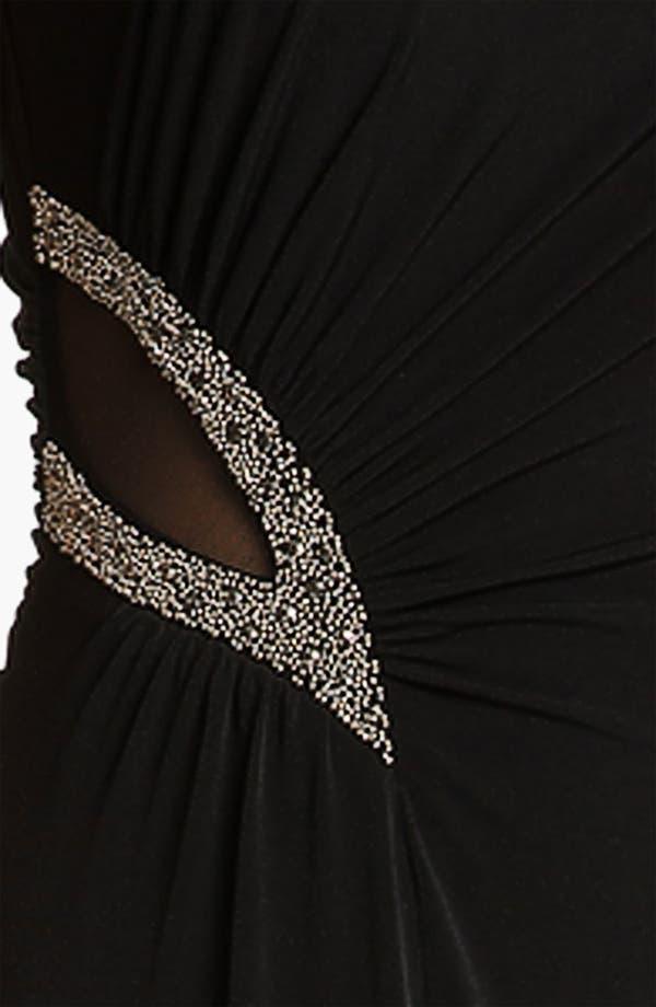 Alternate Image 3  - Calvin Klein One Shoulder Mesh Inset Jersey Gown