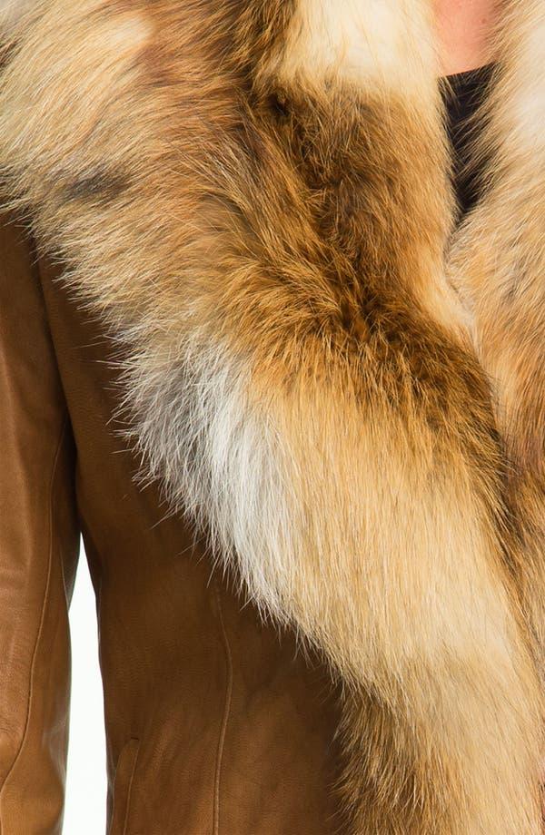 Alternate Image 3  - Chosen Furs Lambskin Leather Coat with Fox Fur Trim