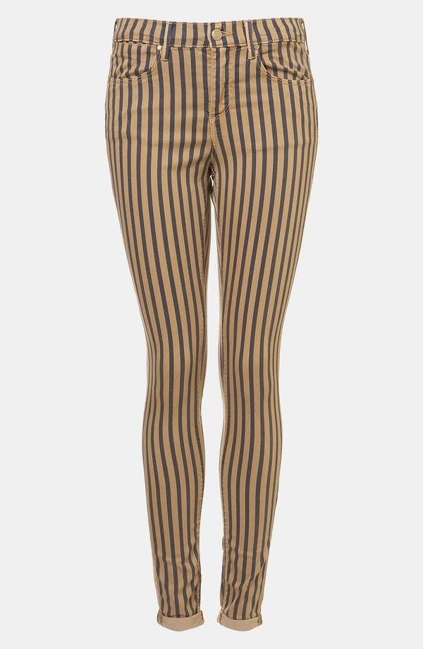 Main Image - Topshop Moto 'Leigh' Stripe Skinny Jeans (Navy)
