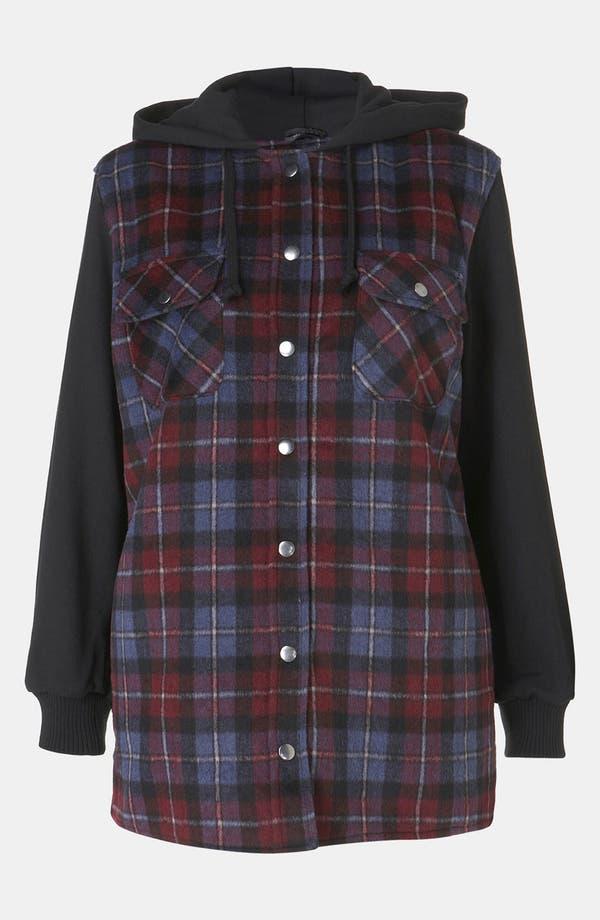 Main Image - Topshop Plaid Hooded Jacket