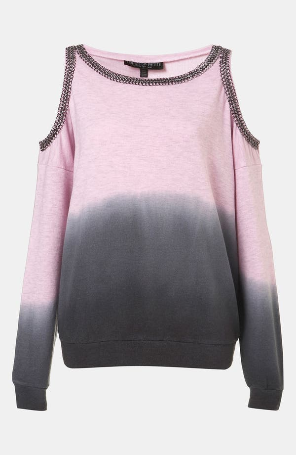 Alternate Image 1 Selected - Topshop Dip Dye Chain Trim Sweatshirt (Petite)