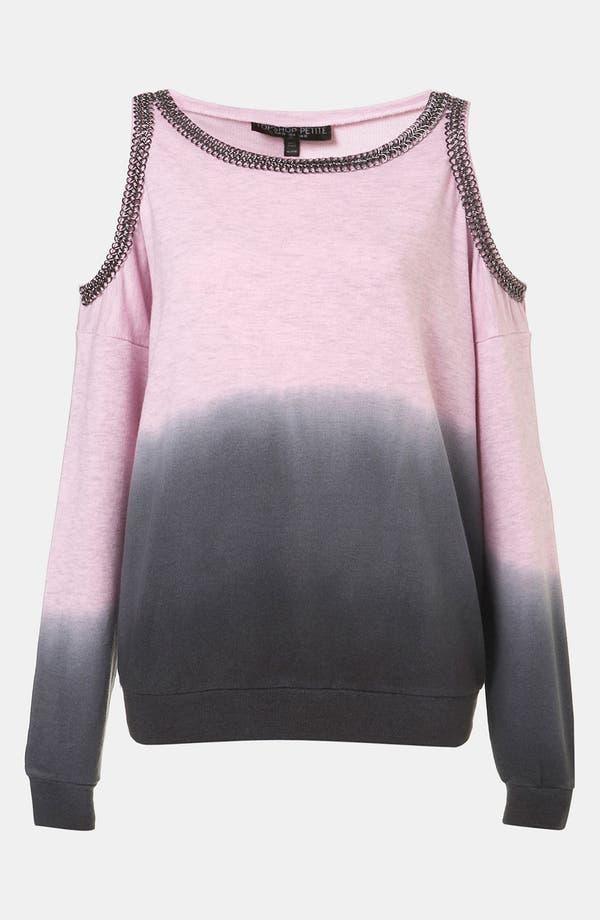 Main Image - Topshop Dip Dye Chain Trim Sweatshirt (Petite)