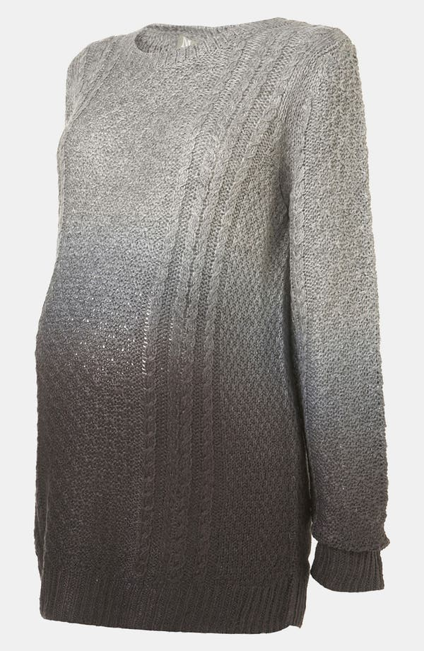 Alternate Image 2  - Topshop Dip Dye Cable Knit Maternity Sweater