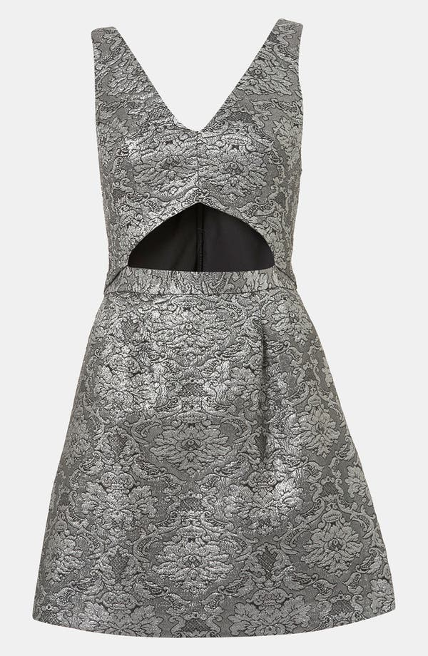 Brocade Cutout Dress,                             Main thumbnail 1, color,                             Charcoal