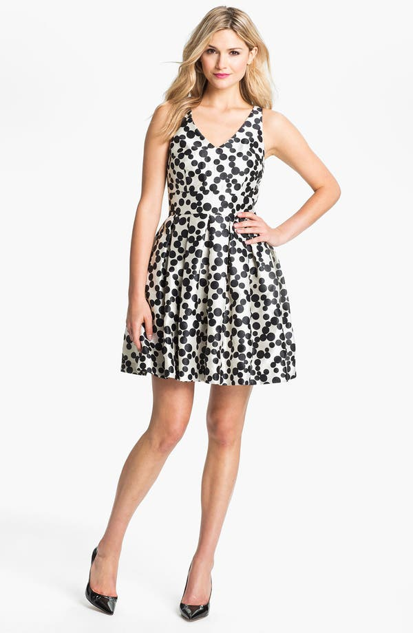 Alternate Image 1 Selected - Taylor Dresses Dotted Fit & Flare Dress