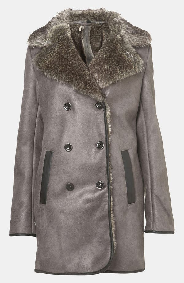Main Image - Topshop 'Karim' Faux Fur Lined Metallic Coat