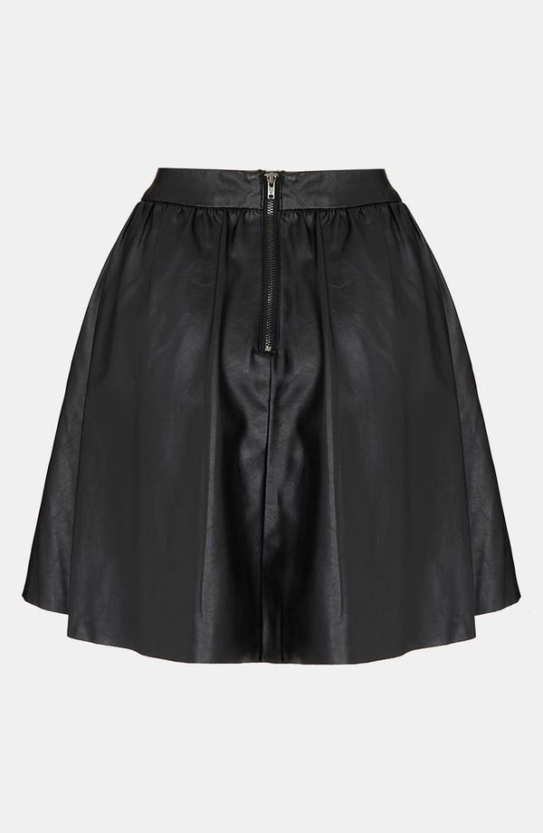 Alternate Image 2  - Topshop Faux Leather Skater Skirt (Petite)