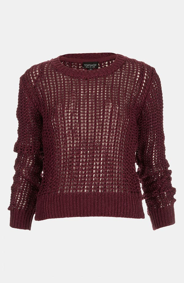 Main Image - Topshop Lustrous Mesh Knit Sweater