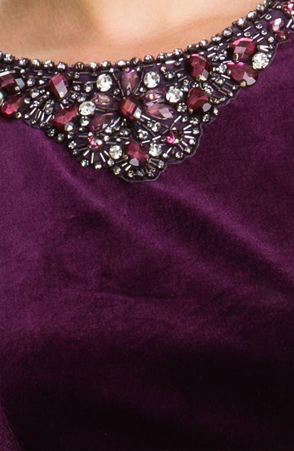 Alternate Image 3  - Eliza J Embellished Neck Velvet Sheath Dress (Petite)